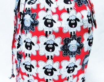 SALE - Small Knitting Project Bag - Sheep on Red
