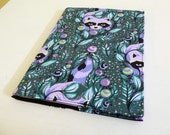 Purple Raccoon Composition Book, Notebook Cover includes wide ruled book, back to school