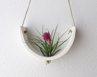 Hanging Air Plant Cradle (tm)   Natural White Earthenware Planter Vase
