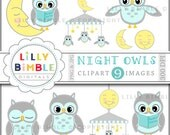 40% off Night Owls clipart images nursery owl in neutral gray, blue, yellow Moon Stars Instant Download