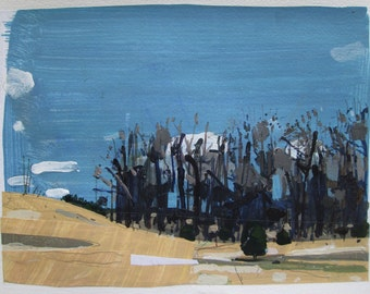 April Forest, Orignal Landscape Collage Painting on Paper, Stooshinoff