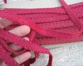 fushia-cranberry upholstery gimp 3 yards