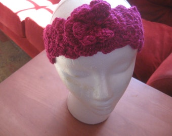 Fuchsia Sparkle Crocheted Headband