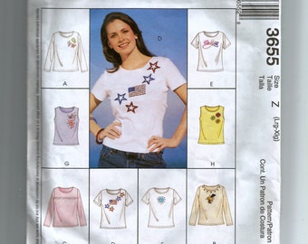 McCall's Misses' Tops For Stretch Knits Only Pattern 3655