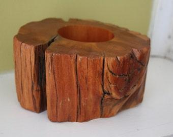 Wood Stump Candle Holder.