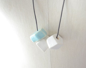 White and Turquoise Ceramic Bead Necklace