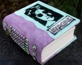 JOHN LENNON Imagine Art Journal Blank Book Green Velvet and Purple Suede Leather  Beaded Spine