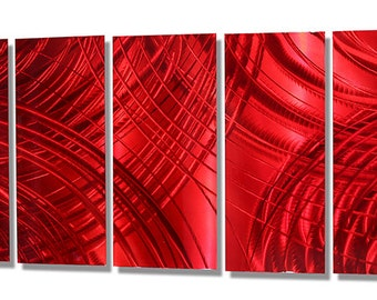 Red Metal Painting - Modern Metal Wall Art - Contemporary Home Decor - Wall Accent - Bright Bold Artwork - Cherry Crush by Jon Allen