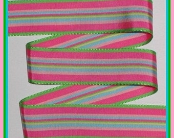 Preppy Grosgrain Ribbon Stripes Pink Lime Blue Yellow 1 1/2 wide cbonefive