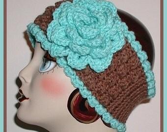 Light Turquoise Ear Warmer Headband Extra Wide Mocha Brown Ski Head Band Flower