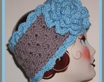 Gray Ski Band Ear Warmer Large Blue Rose Flower Headband Womens Hair Wear