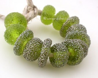 Lampwork Glass Disks and Donuts Set OLIVE Green LUSTER SAND Spiral Wavy Beads - taneres sra silver metallic
