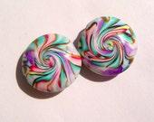 Swirled Jupiter Lentil Handmade Artisan Polymer Clay Lentil Bead Pair