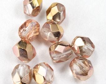 4mm Rose/Gold Fire Polished Bead (50 Pcs)  #GBB021