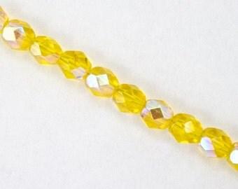 6mm Transparent Lemon AB Fire Polished Bead  (25 Pcs)  #GBD024
