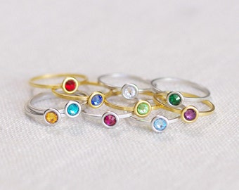 stackable birthstone ring . birthstone stacking rings . personalized birthstone ring . birth stone ring . Swarovski birthstone ring // 4BUB3
