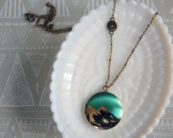 Mountain illustration locket- teal- twin peaks- wanderlust- aged brass chain