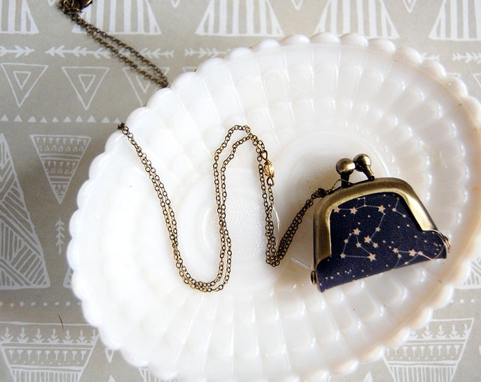 Featured listing image: Tiny Constellation Coin purse necklace- miniature accessory- star gazer