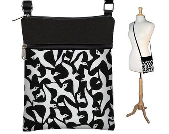 CLEARANCE Sling Bag Shoulder Purse Black & White Cross Body Bag with Birds Small Travel Purse Zipper Fits eReaders  RTS