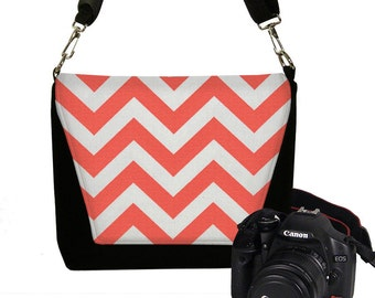 CLEARANCE Padded Water Resistant Chevron Camera Bag DSLR Camera Bag Slr Camera Bag Purse Pockets Woman's Camera Handbag Orange Coral RTS