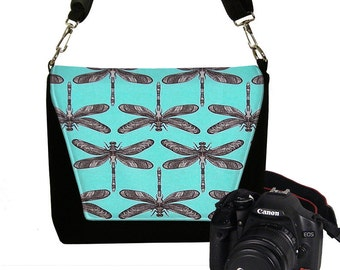 Womens Padded DSLR Camera Bag Slr Camera Bag Purse Dragonfly Deluxe Messenger Camera Bag Zipper Pocket  Turquoise Blue Black RTS