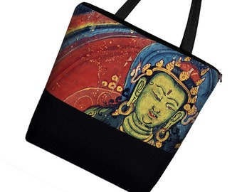 Large Tote Bag with Pockets, Handmade Boho Buddha Asian Art Bag, Canvas Tote bag w/ Zipper,  jewel colors, red blue green    MTO