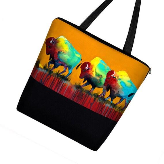 Clara Nilles  Large Tote Bag with Pockets, Southwestern Buffalo Zipper Tote Purse Handmade,  Boy Diaper Bag Girl,  Bison orange blue  MTO