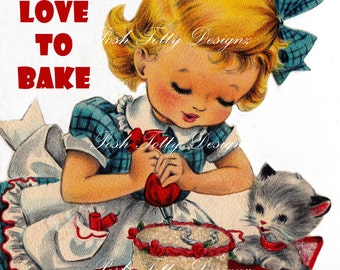 I Love To Bake Vintage Digital Greetings Card Download Printable Images (473)
