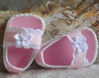 """Doll Sandals Shoes for 18"""" dolls and 13-14"""" dolls and 14.5"""" dolls (You Choose Size) Pastel Pink Shoes With White Lace Accents"""