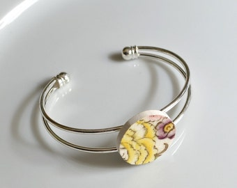 Recycled China Cuff Bracelet - Yellow and Purple Flower