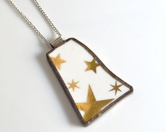 Recycled China Pendant on Chain - Gold Stars