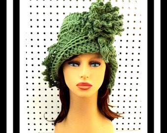 Light Sage Green Cloche Hat, Womens Crochet Hat, Womens Hat 1920s, Green Hat, Lauren 1920s Cloche Hat, Flapper Hat, Crochet Flower