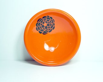 small dish, with a dahlia shown here on clementine, made to order / pick your colour