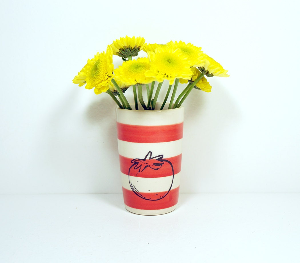 itty bitty cylinder striped red-orange with a tomato, made to order / pick your colour