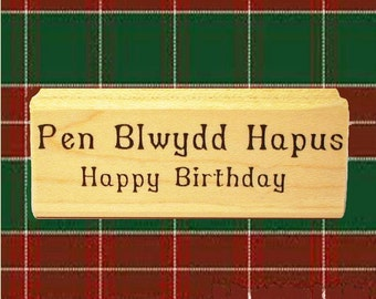 Welsh Happy Birthday Rubber Stamp Bilingual English Scrapbooking  Cards Wales #439