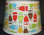 LAMPSHADE handmade with URBAN ZOOLOGIE Bermuda Owls fabric, Michael Miller, Lamp Shade, Any Color Trim, 4 Sizes