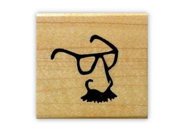 Groucho Glasses mounted rubber stamp, nose, moustache No.15