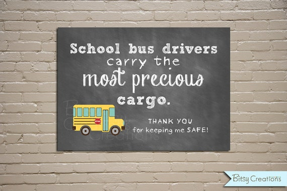 Bus Driver Chalkboard Printable Wall Art by BitsyCreations Instant Download Bus Driver Gift