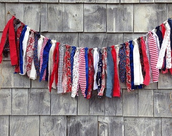 SALE USA Fabric Fringe BANNeR Red White Blue RTS Baby Photo Prop SHaBby CHiC Rag Garland INDePeNDeNCE DaY July 4th AMERiCANA PaTRiOTiC Decor