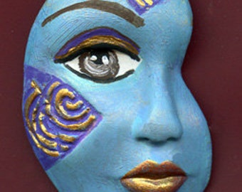 Polymer Clay One of a kind textured Abstract Face Shard TRPR