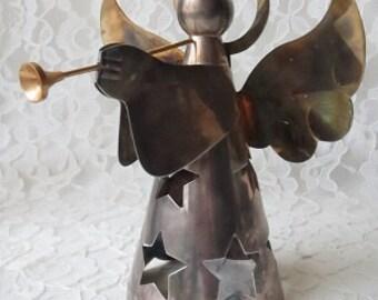 Silver Angel Tea Light Star Cutouts Luminary Brass & Silverplate Sculpture Holiday Collectible
