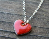 little red enameled heart necklace - Valentine's Day Gift - sterling silver