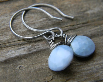 blue opal earrings - oxidized silver