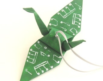 Silver Musical Notes on Forest Green Origami Crane Ornament Christmas Ornament Holiday Decor