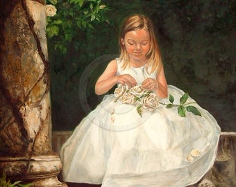 Custom Child Portrait - Girl Oil Painting  - Child Portraits from Your Photos - Portraits by NC