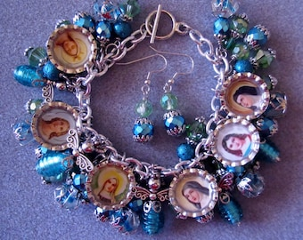 Catholic Saints Loaded Charm Bracelet Lime Teal Blue Green Angels & Earrings Set