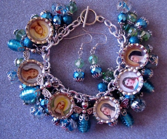 catholic saints bracelet catholic saints loaded charm bracelet lime teal blue green 9196