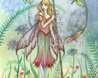 Sweet Summer - Flower Fairy and Dragonflies Fantasy Art Illustration by Molly Harrison - 9 x 12