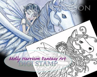 Set of 5 Digital Stamps - Coloring Pages - Molly Harrison Fantasy Art - Fairy, Mermaid, Angel, Pegasus, Black and White JPG File