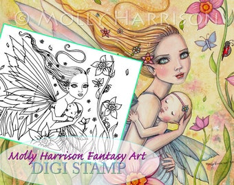 Motherhood - Digital Stamp - Printable - Mother and Baby Fairy - Molly Harrison Fantasy Art - Digistamp Coloring Page - Instant Download